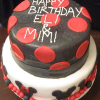 "Mickey And Minnie Mouse Cake  this cake was for a photo shoot for 3 year old twins celebrating their birthday. they called me to place their ""emergency"" order..."