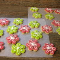 Spring Flowers! fondant covered cookies with piped on royal icing