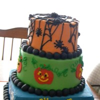Halloween Party Cake! 3 tiered stacked cake with buttercream icing and fondant decorations.