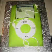 Green Ipod Cake I made this iPOD cake for a friend for her husbands birthday. The cake is covered in MMF. All details are also made of MMF.