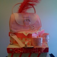 Sweet 16 Pink Purse 1st attempt at a purse cake...Loved every minute of time put into this cake... Everything is edible except the feather....