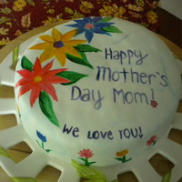 Mothers Day Cake Marshmallow fondant with food coloring painting.