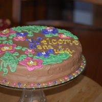 Brush Embroidery Cake Chocolate cake with peanut butter cup filling and chocolate bc. Yum!