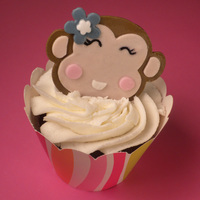 Monkey Cupcake   Monkey cupcake toppers. Made out of fondant :)