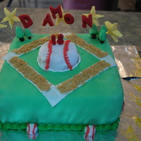 Baseball Themed Cake Vanilla baseball cake.