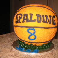 Basketball 3D Cake This is made out of butter cake and covered with fondant. Each and every dimple was pressed by me. Spalding sign is made from fondant. If...
