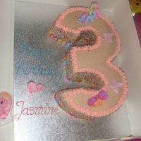 Number 3 My Little Pony Cake This cake was simple but cute. It is made from chocolate sponge and covered with butter cream. The sides are covered with sprinkles and...