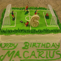 Soccer Field Cake I made a chocolate sponge for this cake and covered it with butter cream. I used a soccer kit to put on top of the cake. The ball was made...