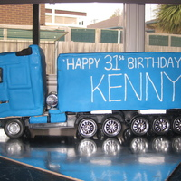 Volvo Fh16 Truck Sponge Cake covered with fondant. Just for the extra effect I used the wheels from a toy truck.