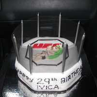 Ufc Cake This cake was made with Vanilla sponge. The cake, fighters and UFC logo are made from fondant. I used brand new fly screen for the net. It...