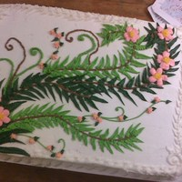 Flowers And Ivy Buttercream flowers and ivy, 1/2 sheet cake.