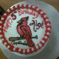St. Louis Cardinals STL Cardinals on a round cake in buttercream icing.