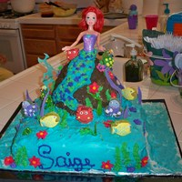Mermaid whipped cream icing, gummy sea creatures and buttercream on the mermaid's tail.