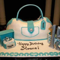 Coach Purse Xv Birthday. Purse made out of cereal treats covered with butter cream and fondant. All details are fondant except for the 15 numbers and the pair of...