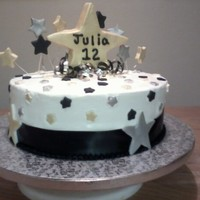 Black, Silver, And Gold Stars birthday cake done in white buttercream and fondant stars painted with lusterdust