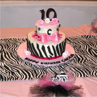 Girly Pink And Zebra Cake  10/6 tiered cake frosted in sugarshack bc and accented with fondant. This one was so fun to make! Inspired by Eneq from cc. Thanks for...