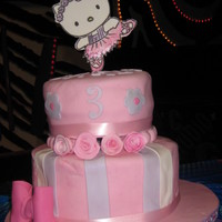 Hello Kitty Cake For Carly Beans  Made this cake for my daughter's 3rd birthday. Her favorite things are ballet, hello kitty, and the colors pink and purple. She was...