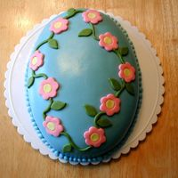 Easter Egg Cake This was a cake that I made for Easter. I used the football pan and cut off the sharp points. It is MMF, the first time I made my own...