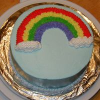 Rainbow Cake Wilton Class 1 My first cake for cake class, I didn't get to finish the writing part.