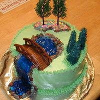 Waterfall Cake With Bridge Made for my husband who is a landscape architect who loves building waterfalls....
