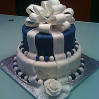 Blue & White 2 Tier Cake