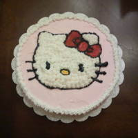 Hello Kitty First time baking a cake from scratch for Wilton's basics class.