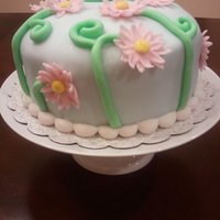 Pink Daisies Final cake for Wilton's fondant class.