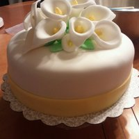 Calla Lilies Yellow-themed engagement party fondant cake.
