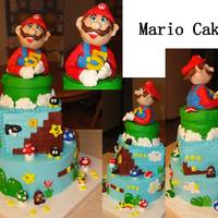 "Video Game Mario Brothers Cake Mario Cake for special 5 yr olds birthday, Jaiden!Bottom cake 10"" strawberry with vanilla mousse filling, square layer, confetti cake..."