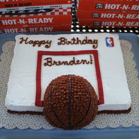 Basketball Cake I made this for my son's birthday using the sport ball pan. I just cut the bottom half of the ball to fit flush against the backboard...