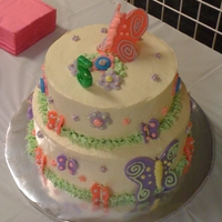 Butterfly And Flowers IMBC with fondant decorations.