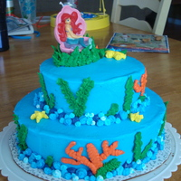 The Little Mermaid All done with buttercream. The topper is a candle.