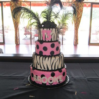 Hot Pink And Zebra Cake I made this four tiered cake for a 13th birthday.