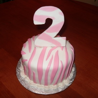 Zebra Print Cake! 2 Year old birthday cake!All Fondant :)TFL!
