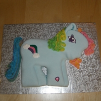 My Little Pony This is a cake I did for my daughter's birthday. It's strawberry cake covered in marshmallow fondant and buttercream icing for...