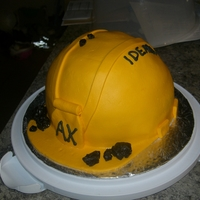 "Hard Hat Cake  This is vanilla cake covered in marshmallow fondant (it was a hot day and it started to get ""holey"") with licorice ""coal&..."