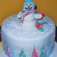 Snowman   Mmf with powdered sugar and sparkling sugar snow, gumpaste snowman