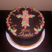 Give Thanks Boston Cream cake with fondant leaves and border