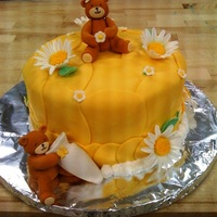 First Cake- Baby Shower- Yellow Bears Flowers Springs Daisies FIRST CAKE- TEST AT SCHOOL- BEARS- DAISIES- YELLOW