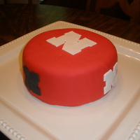 Husker Birthday Cake 6 in chocolate w/PB cream filling and PB buttercream covered with fondant for my hubby's birthday. TYFL