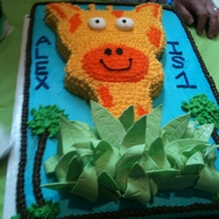 One Year Giraffe Buttercream cake - leaf accents are fondant - rest is buttercream. Did this to match an invitation.