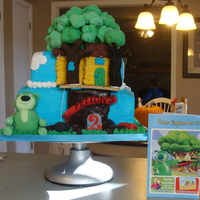 Boz's Tree House For my nephew who loves Boz. Used Rice Crispies to build the tree house and fondant. Graham Crackers for the house covered in buttercream....