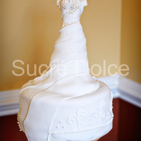 Gown Cake Wedding gown cake, lots of sugar pearl and ruffle details