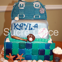 Sweet 16 Cake  This was a Sweet 16 cake for a girl who loves the beach, softball and handbags. The beach tier was Strawberry Lemonade cake, with...