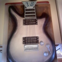 Electric Guitar 15Th Bday This was just a fun cake I made for a family member. He is in LOVE with his electric guitar so this was made to look just like it. Not the...