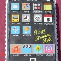 Ipod 9x13 cake decorated with fondant decorations representing Ipod Touch icons.