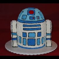 R2D2  4 ea - 1-1/2 inch high layers made from a 6-inch pan, plus 1/2 a sports ball pan for the top. Legs are cut from rice krispy treats and iced...