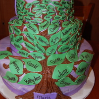 Grandmothers 80Th Birthday  My family tree for my grandmothers 80th birthday. her favorite color is purple so i did the purple marble fondant, then leaves for her 12...