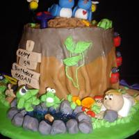 Tree Trunk butter cream icing covered in fondant. This was for a 4 year old boy who collects bugs.
