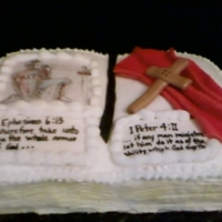 Armor Of God Birthday cake for a young preacher. His grandma wanted it done in BC icing. I used crusting cream cheese BC icing. Cross, book mark and...
